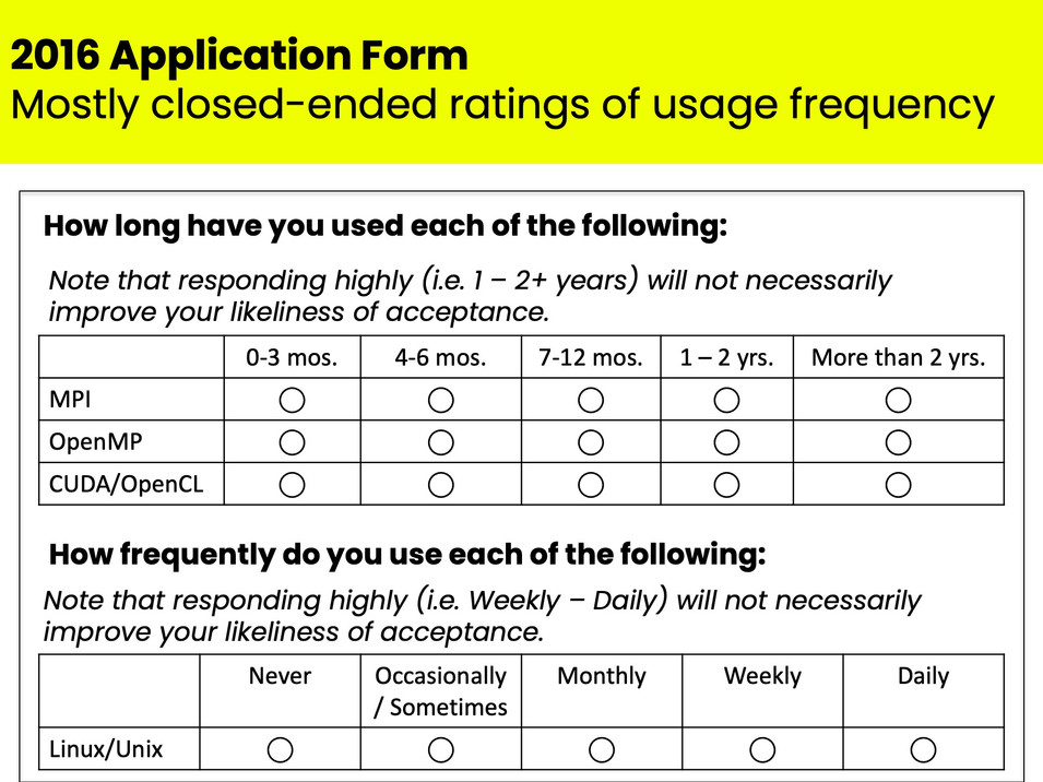 Excerpt from revised IHPCSS application
