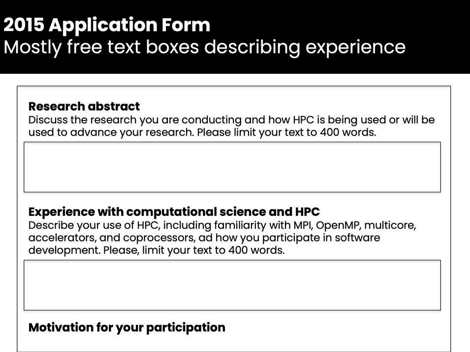 Excerpt from original IHPCSS application