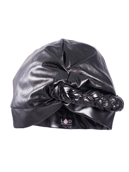 Satin-lined Turban - Black Shiny Faux Leather