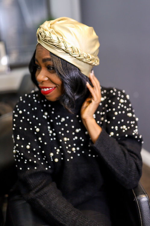 Satin-lined Turban-Gold Faux Leather