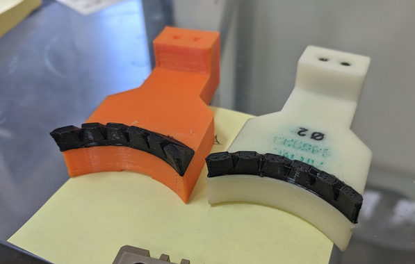 Existing printed parts reworked by milling off existing fingers and printing replacements from TPU