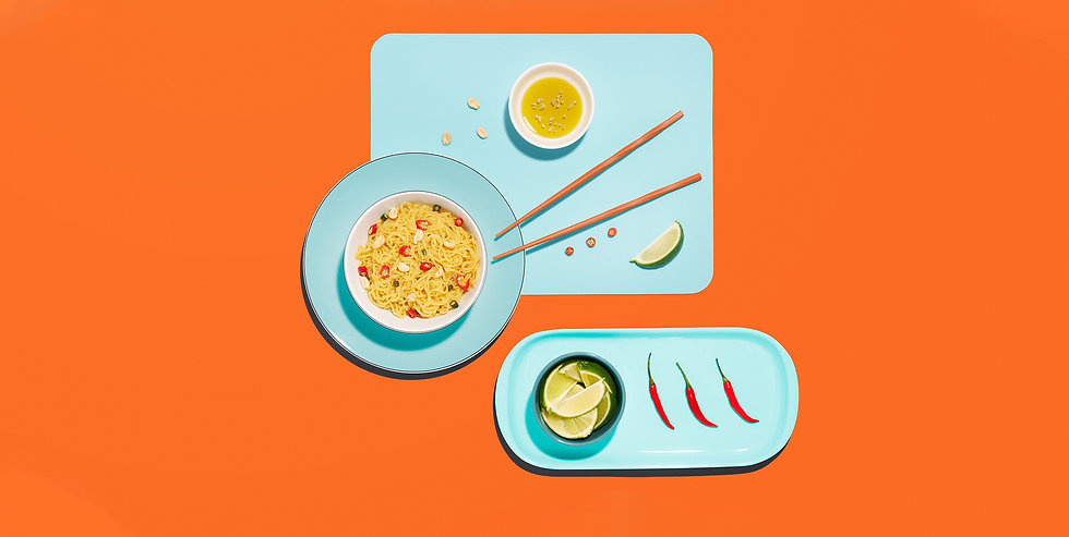 Styled low carb noodle flatlay