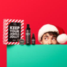 katnik creative, ballwash, ballsy, christmas content, studio, festive, product photography, toronto model, male model, set design