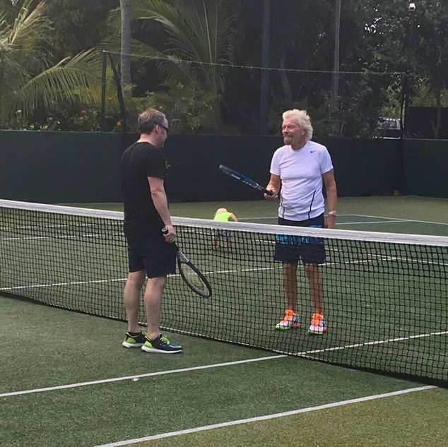 Tennis with Sir Richard Branson at Necker Island