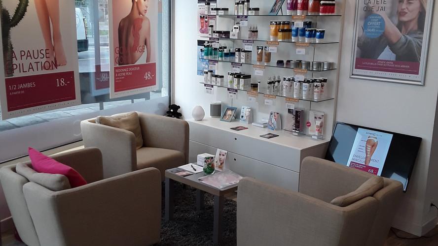 Salle d'attente institut de beauté à Genève quartier de Saint-Jean