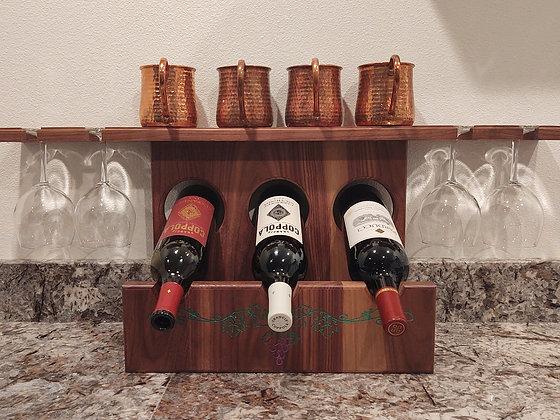 Three Bottle, Four Glass Wine Rack