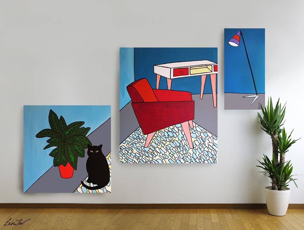 "Triptych ""Room 60's"" / interior"