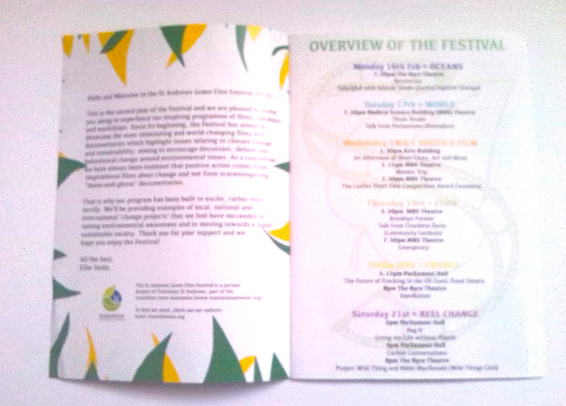 Green Film Festival programme