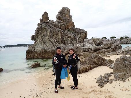 沖縄本部町ゴリラチョップ でビーチ体験ダイビング