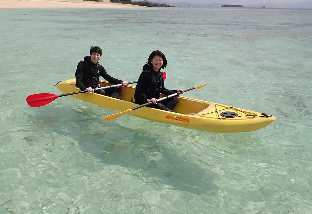 沖縄本部町でクリアーカヤック+シュノーケリング