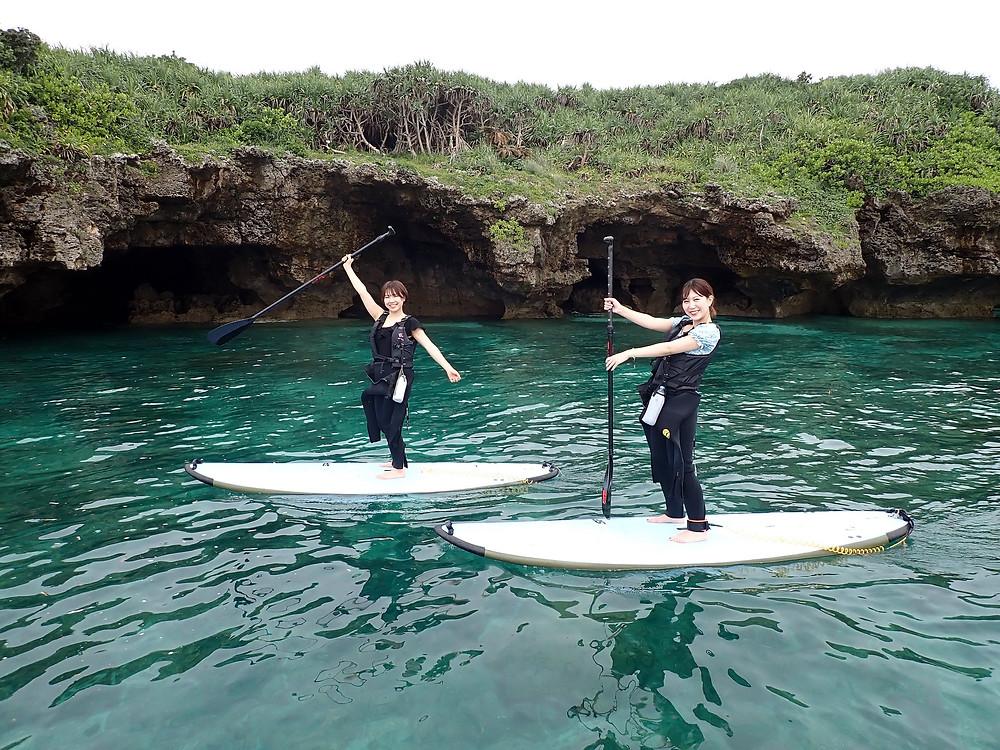 沖縄本部町でサップ(スタンドアップパドル )とスキンダイビング