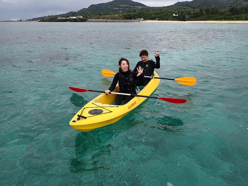 沖縄本部町でクリアーカヤック とスキンダイビング