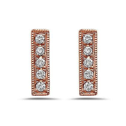 14KR Diamond Bar Earrings