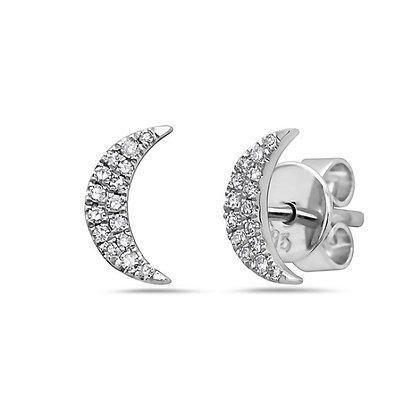 14KW Diamond Moon Studs