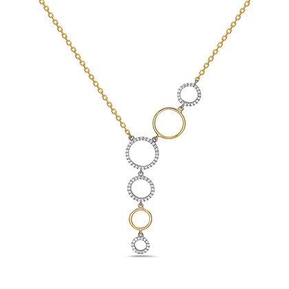 Bassali 14KYW Two Tone Cascading Circle Necklace