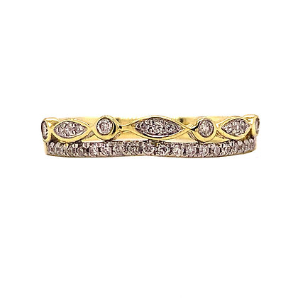 10KY Diamond Two-Band Stackable Ring