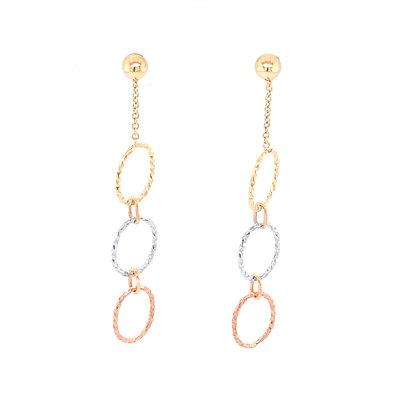 14K Tri-Color Station Oval Earrings