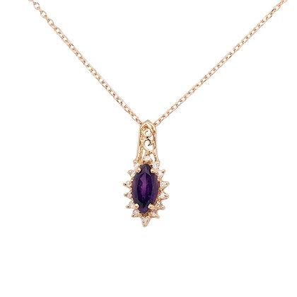 14KY Amethyst & Diamond Necklace