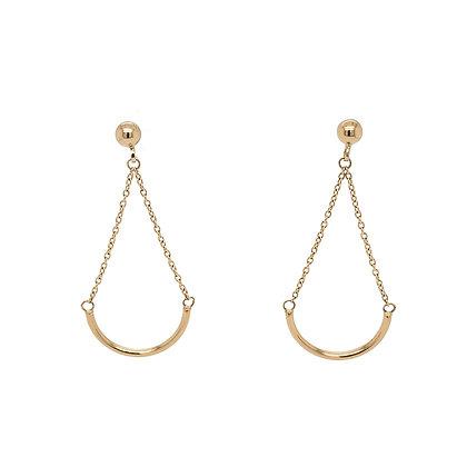 14KY Half Circle Hanging Earrings