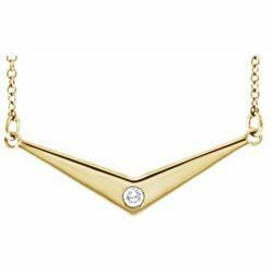 14KY Diamond Solitaire V Necklace