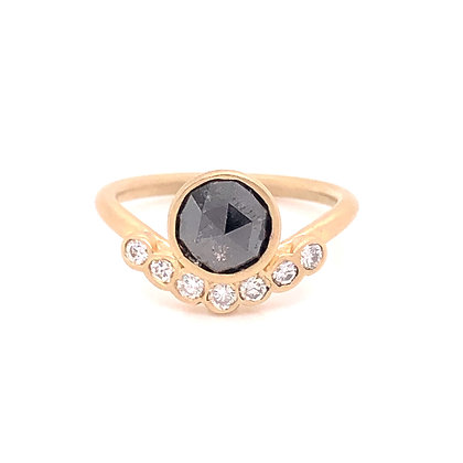 14KY Brushed Black & White Diamonds Ring