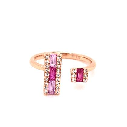 Bassali 14KR Ruby, Pink Sapphire & Diamond Ring