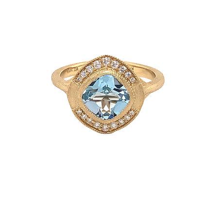 Bassali 14KY Swiss Blue Topaz Brushed Ring