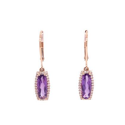 14KR Geometric Amethyst & Diamond Earrings