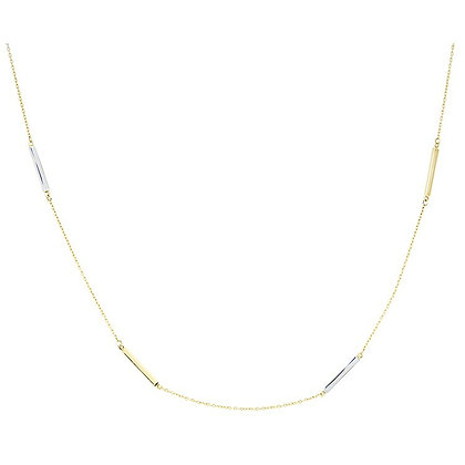 14K Two-Tone Bar Station Necklace