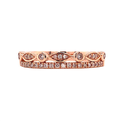 10KR Diamond Two-Band Stackable Ring