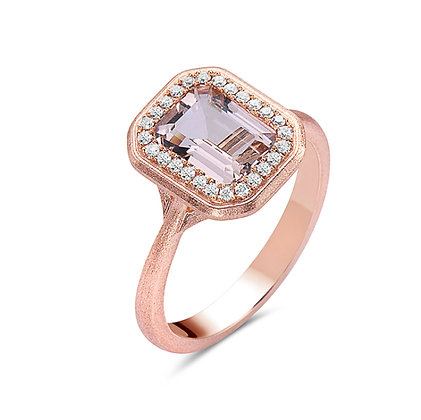 Bassali 14KR Pink Morganite Halo Ring