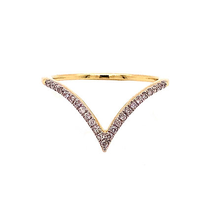 14KY V-Shaped Stackable Ring