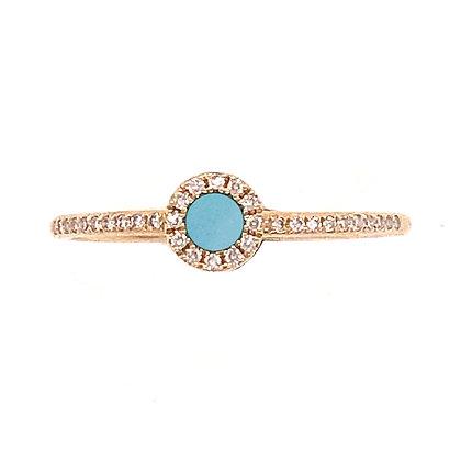 14KY Amazonite & Diamond Ring