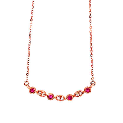 10K Rose Gold Ruby & Diamond Pendant