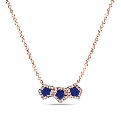 14KR Lapis & Diamond Necklace