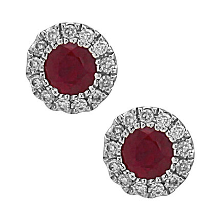 14KW Ruby & Diamond Stud Earrings