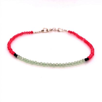 Bella Beaded Bracelet - Chalcedony & Pyrite