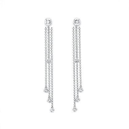 14KW Bezel-Set Diamond Rain Drop Earrings