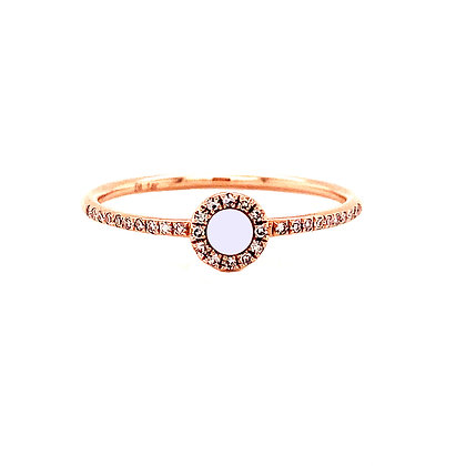 14KR Mother of Pearl & Diamond Ring