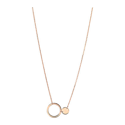 14KR Open & Closed Disk Necklace