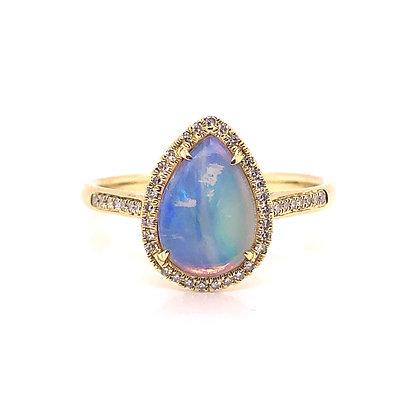 14KY Pear Shaped Opal & Diamond Ring