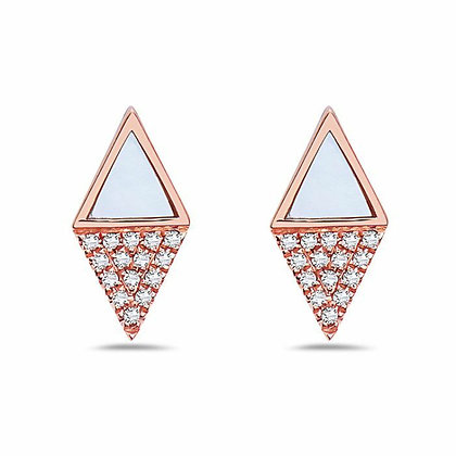 Bassali 14KR Mother of Pearl & Diamond Kite Studs