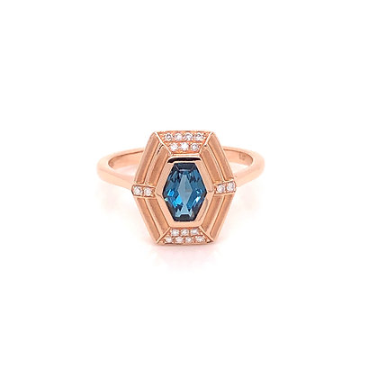14KR London Blue Topaz & Diamond Hexagon Ring