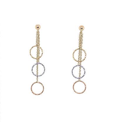 14K Three-Tone Circle Earrings