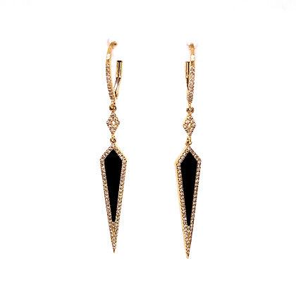 14KY Onyx Earrings Set w/ Diamonds