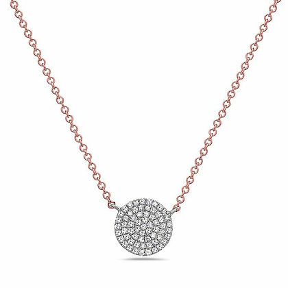 14K Two Tone Diamond Disk Necklace