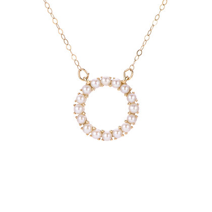 14KY Freshwater Seed Pearl Circle Necklace