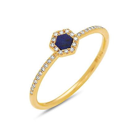 14KY Lapis & Diamond Ring