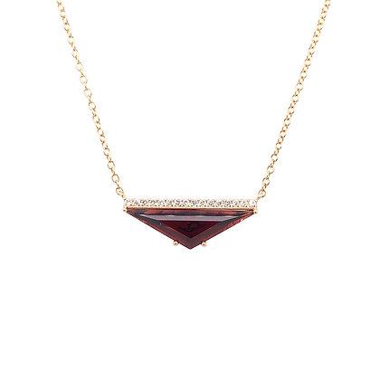14KY Geometric Garnet & Diamond Necklace