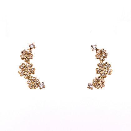14KY Diamond Flower Stud Earrings